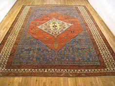 "Persian: Geometric 14' 3"" x 11' 9"" Antique Bakshaish at Persian Gallery New York - Antique Decorative Carpets & Period Tapestries"