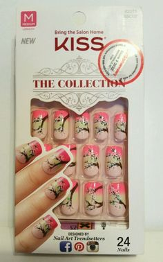 KISS 24 Glue On Nails THE COLLECTION Medium 62271 Pink w/ Flowers HARD TO FIND! #Kiss Gel Nail Kit, Gel Nails, Acrylics, Acrylic Nails, Impress Nails, Nail Stuff, Glue On Nails, Lip Service, Fabulous Nails