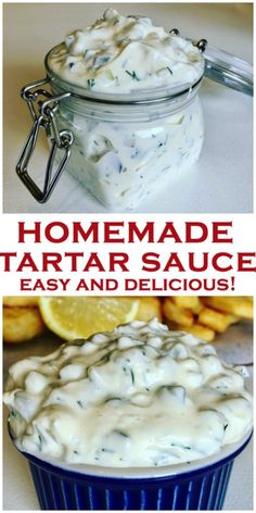 Quick and easy homemade Tartar Sauce, tastier than store bought! Quick and easy homemade Tartar Sauce, tastier than store bought! Made with dill pickles and mayo, and no added sugar, perfect for fish fingers or fish. Taco Salad Recipes, Salad Dressing Recipes, Sauce Recipes, Seafood Recipes, Cooking Recipes, Healthy Recipes, Salad Dressings, Healthy Sauces, Fried Fish Recipes