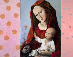 Francis Kilian, in het spoor van de oude meesters:  'Madonna met de rode anjer'  naar een leerling van Rogier van der Weijden, drieluik, olieverf op linnen140x180 cm