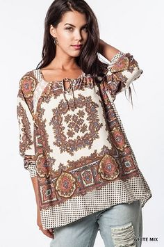 Beautiful ivory printed tunic top with lace detai. $37 #thepinkchalet #shoplocal #fallfashion