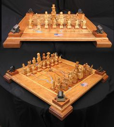 Custom made, hand carved, wood themed chess set and chess tables designed and created by custom chess set artist Jim Arnold.  Hundreds on my own unique designs and private commissions especially welcomed.