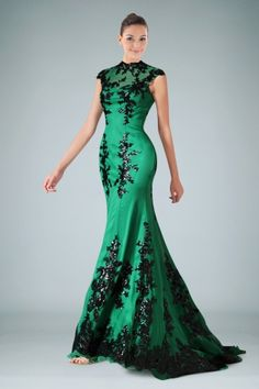 Charming Sheath Evening Dress with Contrasting Appliques Accents