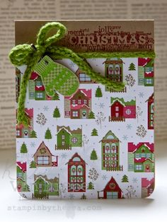 Kimberly's card uses a host of products from the 2012 Holiday Catalog but can be easily changed with different paper, greeting, ribbon, & punch (or cut-out image).