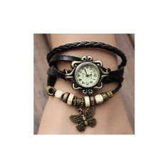Leather Alloy Butterfly Pendant Wrist Watch ($3.91) ❤ liked on Polyvore featuring jewelry, watches, black, jewelry watch women watch, vintage jewellery, vintage pendants, butterfly pendants jewelry, leather watches and leather jewelry