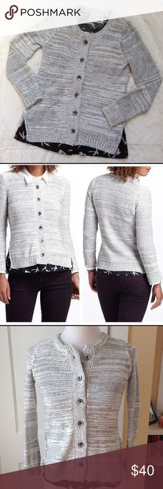 FIELD FLOWER Marled Cotton Cardigan This lovely marled cotton cardigan boasts a bird patterned underlay at the hemline for a layered look. Cozy and cute! 100% cotton. New without tags! Anthropologie Sweaters Cardigans