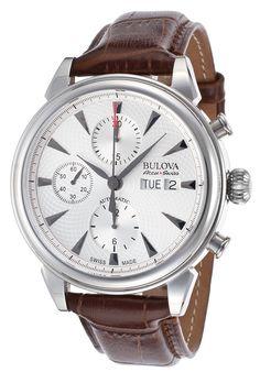 Bulova Accu-Swiss 63C112 Watches,Men's Gemini Auto Chrono Brown Genuine Leather Silver-Tone Dial, Dress Bulova Accu-Swiss Automatic Watches