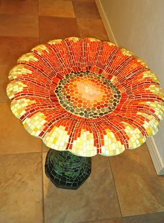 Mosaic Art is the decorative art of making pictures and patterns on a floor by way of joining small coloured pieces of glass, marble or different substances in a bed of cement, plaster or adhesive. - Page 2 Tile Art, Mosaic Art, Mosaic Glass, Mosaics, Stained Glass, Pebble Mosaic, Mosaic Birdbath, Mosaic Garden, Mosaic Crafts