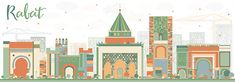 Abstract Rabat Skyline with Color Buildings. Vector Illustration. Business Travel and Tourism Concept with Historic Architecture.