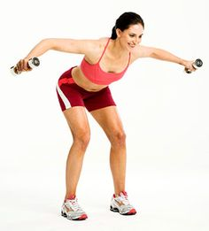 Intermediate: Hip Hinge with Reverse Flye  Targets: Shoulders, mid-back  Stand with feet shoulder-width apart, a dumbbell in each hand, arms by sides, palms in.  Hinge forward from hips and lift arms out to sides at shoulder level, keeping elbows slightly bent; lower. Do 12 reps.
