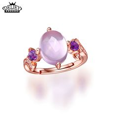 bf989e5792a2 DELIEY 100% Genuine 925 Sterling Silver Elegant Oval Natural Rose Quartzs  Amethysts Rings for Women