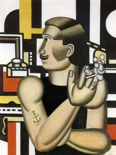 Fernand Leger (France, 1881-1955) - El mecánico / #cubismo