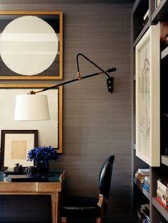 masculine home office, grasscloth, art
