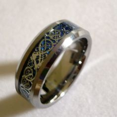 8MM MEN'S TUNGSTEN CARBIDE celtic dragon pattern WEDDING BAND RING SIZE 6-15