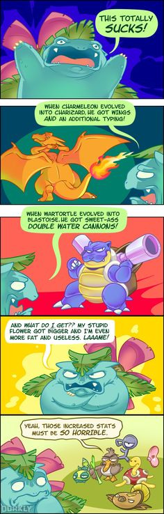 Should You Feel Bad for Venusaur?—Nah man I friggin love venusaur and all the bulbasaur evolution stages Pokemon Comics, Pokemon Funny, Pokemon Memes, Cool Pokemon, Pokemon Go, Pokemon Stuff, Venusaur Pokemon, Pokemon Charizard, Pokemon Pictures