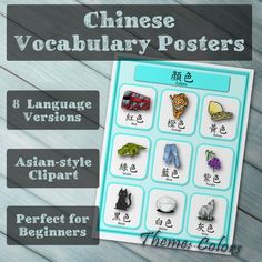Chinese Vocabulary Poster with 8 language versions, perfect for beinngers, and very affortable. Chinese Words, Chinese Writing, Learn Cantonese, Chinese Posters, English For Beginners, How To Start Homeschooling, Learning Apps, Book Posters, Learn Chinese