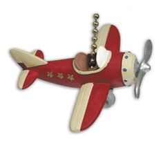 This unique red airplane ceiling fan pull will put the finishing touch on your airplane themed room.
