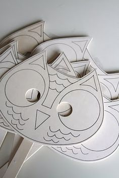 decorate owl masks - from JoAnne's - perfect for the kids table!
