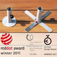 Für Holzterrasse: Anker-Sonnenschirmständer 2 kg leicht mit Kreuzfuß und Schirmaufnahme bis Ø 42 mm