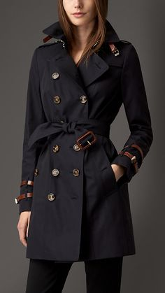 Leather Detail Gabardine Trench Coat | Burberry There are no words to express how much I want this coat!