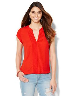 Shop Pintuck Split-Neck Blouse . Find your perfect size online at the best price at New York & Company.