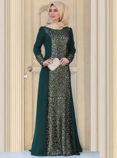 Sofia Evening Dress - Green - Zehrace Dress Brukat, Batik Dress, The Dress, Dress Outfits, Gold Dress, Batik Fashion, Abaya Fashion, Fashion Dresses, Hijab Evening Dress