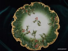 T TRESSEMANN & VOGT HOLLY BERRY CHRISTMAS GILDED PLATE 1892-1907 ANTIQUE |Pinned from PinTo for iPad|