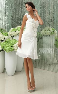 Sweetheart Chiffon Short Wedding Reception Dress With Ruching And Fl Strap White For Brides