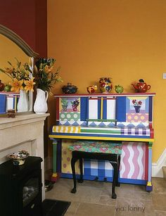 colorful painted piano