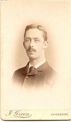 16.Smart young man with moustache.Photographer Joseph Green & Son, Caversham/Reading. In 1871 Joseph was married to 2nd wife Emma (1st wife Sarah died) he was Upholsterer,in 1881 a PHotographer,1891 a PH & Son - Alfred & Daughters Alice & Sarah all assistants,1901/1911 Alfred married,still PH & Joseph still PH in 1901,but 1911 age 79 a widower Joseph living with Sister Elizabeth & is a furniture restorer.He died 1915.