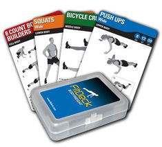 """FitDeck fitness """"playing card"""" set.  I love these!  I have the Bodyweight, Stretch and Exercise ball decks and there are TONS of deck for all different sports, ages, ability levels and situations.  Each cars show a detailed diagram of the exercise, suggested number of reps per activity level, etc."""