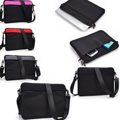 Protective Messenger bag with front pockets in Black- Universal design fits Microsoft Surface Pro 2 >>> Continue to the product at the image link.