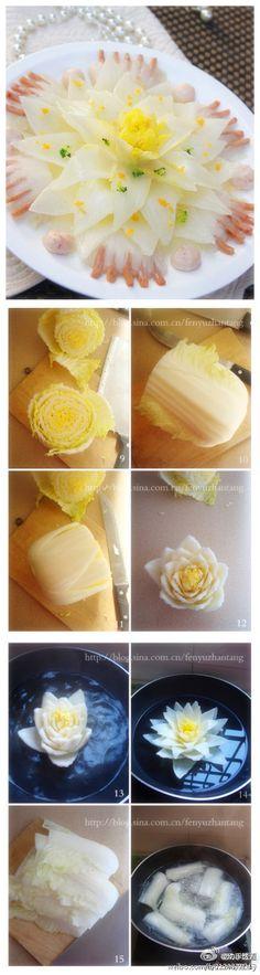 Lotus ---- cavolo] togliere le foglie vecchie, tagliate a metà, tagliare dalle radici con una punta di piccolo strumento; sequenza tagliata a petalo-come dall'esterno verso l'interno, scolpito a forma di loto, in acqua bollente per essere cucinato.  Fresco ed elegante