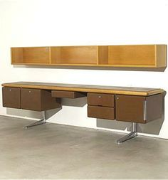 Warren Platner; Oak, Leather and Chromed Iron 'Executive Office Collection' for Knoll USA, 1973.