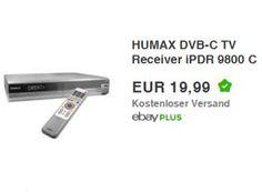 Ebay: Humax iPDR 9800 DVB-C-Receiver mit 160 GByte als B-Ware für 19,99 Euro https://www.discountfan.de/artikel/technik_und_haushalt/ebay-humax-ipdr-9800-dvb-c-receiver-mit-160-gbyte-als-b-ware-fuer-1999-euro.php Mit dem Humax iPDR 9800 ist bei Ebay jetzt ein DVB-C-Receiver mit 160 GByte großer Festplatte für 19,99 Euro frei Haus zu haben. Das B-Ware-Modell hat sich in den ersten Stunden schon über 100 mal verkauft. Ebay: Humax iPDR 9800 DVB-C-Receiver mit 160 GByte als
