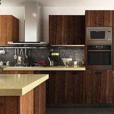 kitchen cabinets, PVC, dark brown, OP14-PVC04