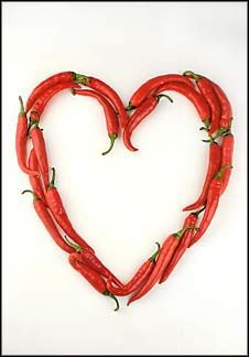 Heart of Chili Peppers. From The Heart of Mexico. Notecard.
