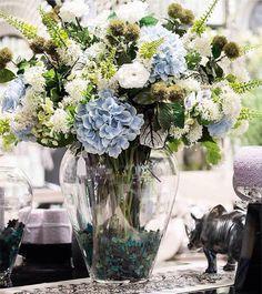 centros,jarrones, flores, cristal, en www.virginia-esber.es