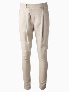 Oblique Zip Front Pants in Beige   Choies