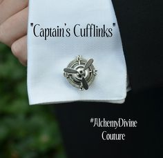 Captains Cufflinks Vintage Handmade Cuff Links, Silver Nautical Compass topped by working Airplane Propellers in Antiqued Silver Finish. Mens Gift Idea. By #AlchemyDivineCouture #SteampunkCufflinks #Groom  If you love steampunk, feast your eyes on these lovely silver propeller cufflinks for men! With a compass rose face and fully functioning airplane props, youll without any doubt catch the attention of those who see these adorning your sleeves.  The compass rose measures approx 1 in…