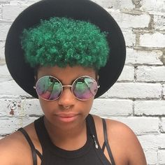 green hair   black girl with colorful hair   afro hair   curly hair   colored hair