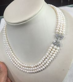 Pearl Necklacefreshwater Pearl Necklacepearl by jewelryTang Pearl Bridesmaid Jewelry, Bridesmaid Necklace Gift, Wedding Jewelry, Agate Jewelry, Pearl Jewelry, Jewelery, Multi Strand Pearl Necklace, Beaded Jewelry Patterns, Necklace Designs