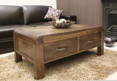 Baumhaus Shiro Walnut 4 Drawer Coffee Table