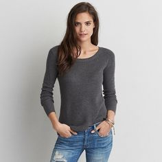 AE Crew Jegging Sweater featuring polyvore, women's fashion, clothing, tops, sweaters, grey, crew sweater, american eagle outfitters sweaters, zip sweater, gray crew neck sweater and gray sweater