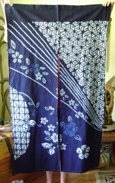 Shibori noren, indigo dyed