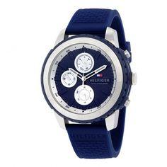 1791193 Ανδρικό ρολόι TOMMY HILFIGER Flynn με ημέρα-ημερομηνία, μπλε λουρί από σιλικόνη & μπλε καντράν | Ανδρικά ρολόγια TOMMY ΤΣΑΛΔΑΡΗΣ στο Χαλάνδρι #Tommy #Hilfiger #μπλε #λουρι #ρολοι