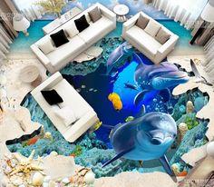 (52.98$)  Buy here - http://ai17y.worlditems.win/all/product.php?id=32680968823 - Custom 3D photo floor wallpaper 3d Flooring Wallpaper Sea World Dolphin Waterproof PVC Self-adhesive Floor murals