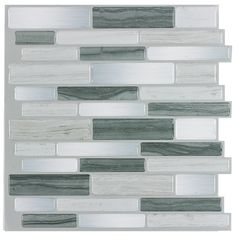 Peel&Stick Mosaics Grey Mist Linear Mosaic Composite Peel-and-Stick Wall Tile (Common: 10-in x 10-in; Actual: 9.4-in x 10-in)