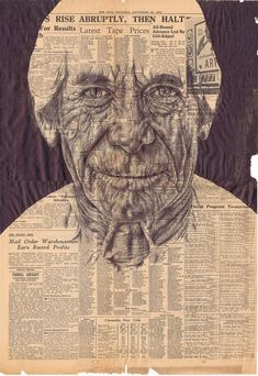 A look at several of the Bic Ballpoint Pen Portraits by Mark Powell drawn on ephemera such as vintage envelopes, sheet music, maps and newspapers.
