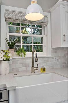 Kitchen Farmhouse Sink. Window with Roman Shade above farmhouse sink. #FarmhouseSink #FarmhouseKitchenSink Allison Knizek Design for Prescott Properties